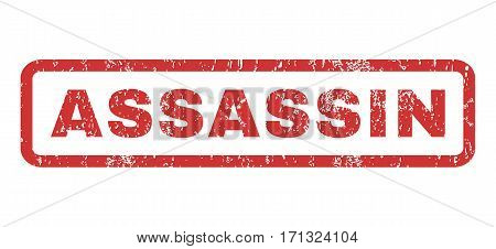 Assassin text rubber seal stamp watermark. Tag inside rectangular banner with grunge design and dirty texture. Horizontal vector red ink sign on a white background.