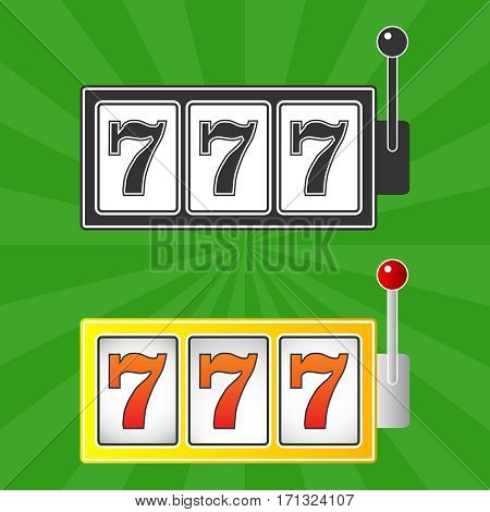 Winning at the casino, 777, Casino logo. Flat design, vector illustration, vector.