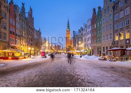 GDANSK, POLAND - FEBRUARY 8, 2017: Historical architecture of the old town in Gdansk, Poland. Baroque architecture of the Long Lane is one of the most notable tourist attractions of the city.