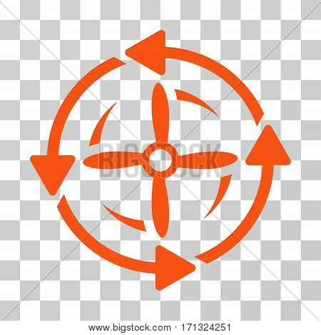 Screw Rotation icon. Vector illustration style is flat iconic symbol orange color transparent background. Designed for web and software interfaces.
