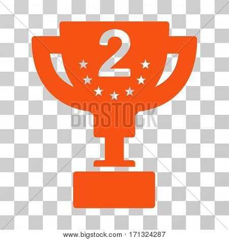 Second Prize Cup icon. Vector illustration style is flat iconic symbol orange color transparent background. Designed for web and software interfaces.