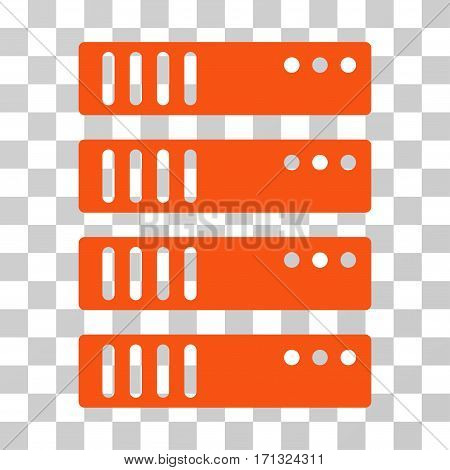 Server icon. Vector illustration style is flat iconic symbol orange color transparent background. Designed for web and software interfaces.