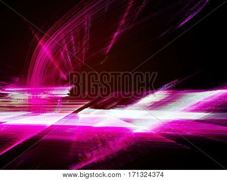 Abstract background element. Fractal graphics. Three-dimensional composition of glowing artifacts. Glitch aesthetics. Pink on black colors.