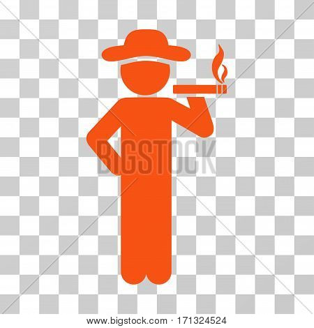Smoking Gentleman icon. Vector illustration style is flat iconic symbol orange color transparent background. Designed for web and software interfaces.