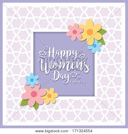 Happy Women's Day greeting card with lettering and flowers on purple die cut background. 8 march vector Illustration.