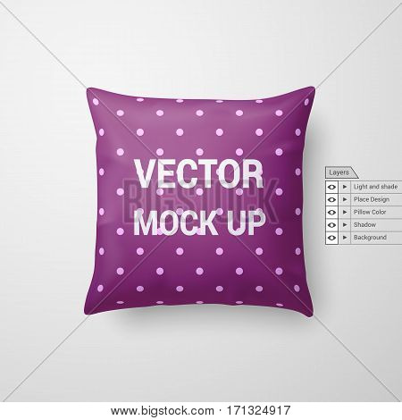 Mock Up of a Magenta Pillow Isolated on White Background