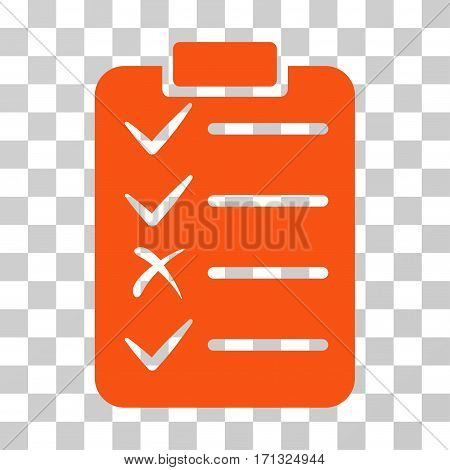 Task List icon. Vector illustration style is flat iconic symbol orange color transparent background. Designed for web and software interfaces.