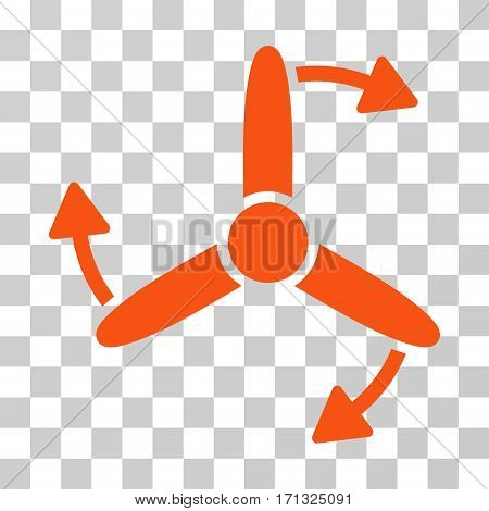 Three Bladed Screw Rotation icon. Vector illustration style is flat iconic symbol orange color transparent background. Designed for web and software interfaces.