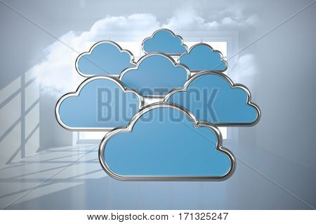 Digitally generated image of cloud shapes against room with holographic cloud 3d