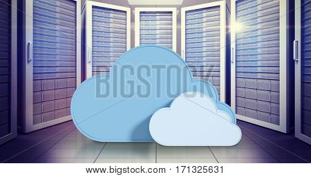 Blue cloud shapes against white background against digitally generated server room with towers 3d