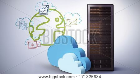 Digitally generated image of cloud shapes against composite image of cloud computing doodle 3d