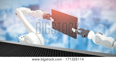 Digital generated image of robots holding computer tablet against black metal texture 3d