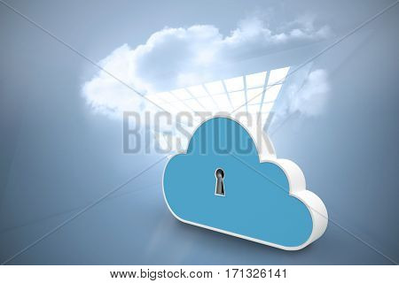 Digitally generated image of keyhole in cloud shape locker against room with holographic cloud 3d