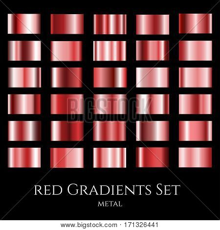 Vector set of red metal gradients. Collection of design gradation swatches