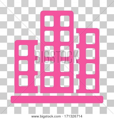 City icon. Vector illustration style is flat iconic symbol pink color transparent background. Designed for web and software interfaces.