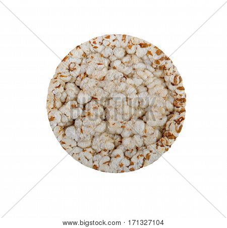 isolated expanded wheat cracker with clipping-path, top view