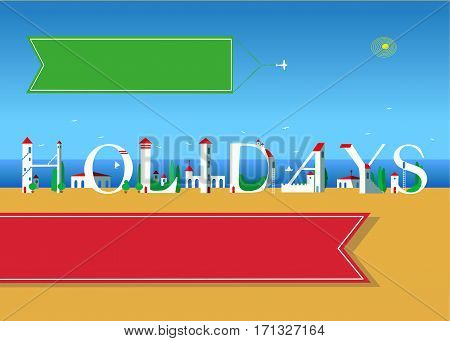 Holidays. Travel card. White buildings on the summer beach. Red banner for custom text. Plane in the sky with green banner for custom text.