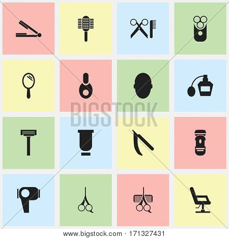 Set Of 16 Editable Hairdresser Icons. Includes Symbols Such As Scent, Barber Tools, Vial And More. Can Be Used For Web, Mobile, UI And Infographic Design.