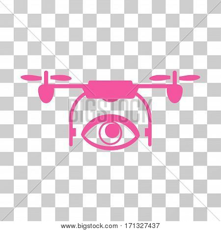 Eye Spy Drone icon. Vector illustration style is flat iconic symbol pink color transparent background. Designed for web and software interfaces.