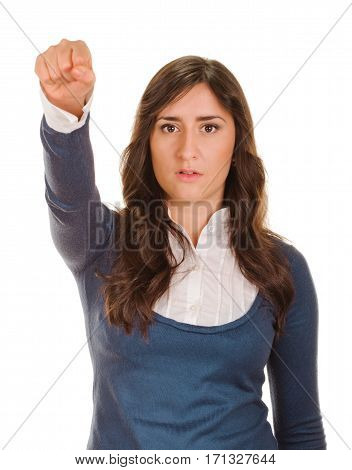 woman kicking her clenched fist arm. isolated on white