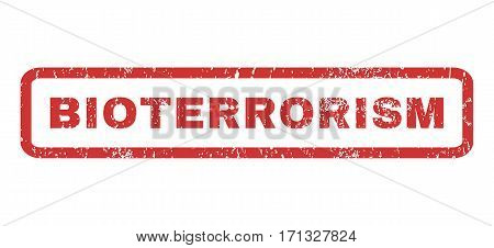 Bioterrorism text rubber seal stamp watermark. Tag inside rectangular banner with grunge design and scratched texture. Horizontal vector red ink sticker on a white background.