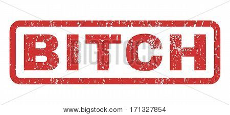 Bitch text rubber seal stamp watermark. Caption inside rectangular banner with grunge design and dust texture. Horizontal vector red ink sign on a white background.