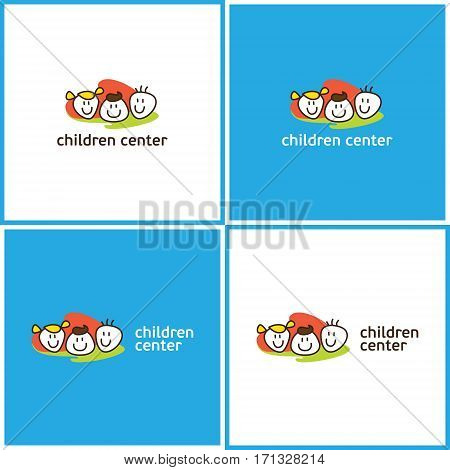 Vector eps logotype or illustration showing children education center with three kids on colorful background