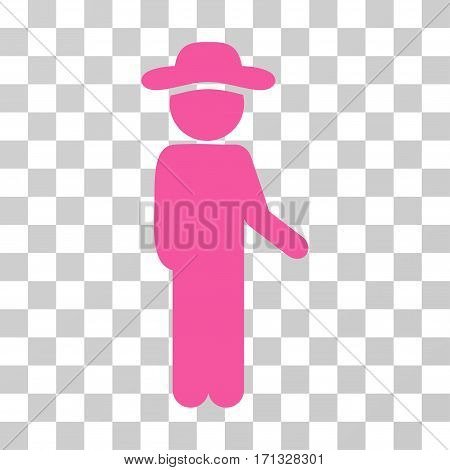 Gentleman Idler icon. Vector illustration style is flat iconic symbol pink color transparent background. Designed for web and software interfaces.