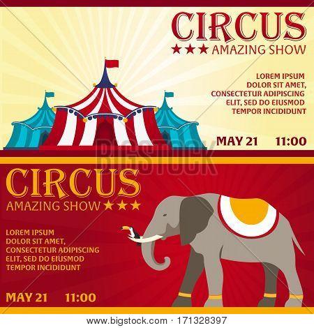 Set Circus Banner, Circus Ticket. Amazing Show. Flat Illustration.