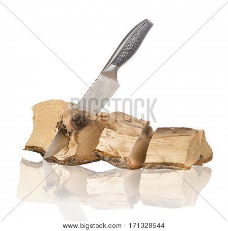 firewood wood cut large knife isolated on white background