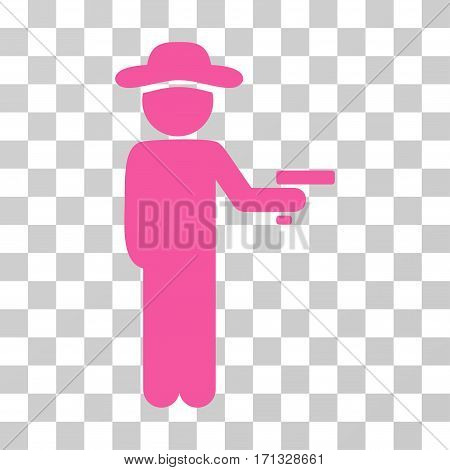 Gentleman Robber icon. Vector illustration style is flat iconic symbol pink color transparent background. Designed for web and software interfaces.