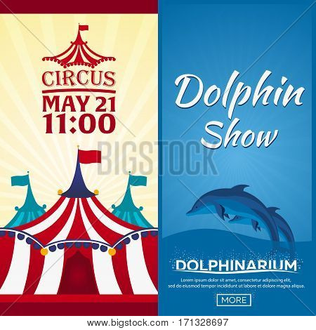Set Of Circus And Dolphin Show Banner, Circus And Dolphinarium Ticket. Amazing Show. Flat Illustrati