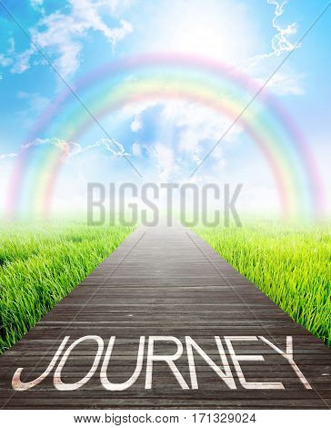 Wooden bridge and landscape background with journey words Business concept photo.