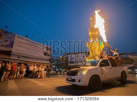 Chiang Rai, Thailand - February 13 2017: The parade of Singha Park Balloon Fiesta 2017, Show of the fire of the hot air balloons in the downtown of Chiang Rai province, Thailand.