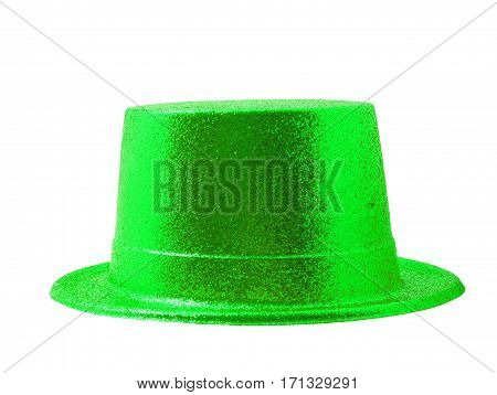 Green light party hat isolated on the white background clipping path.