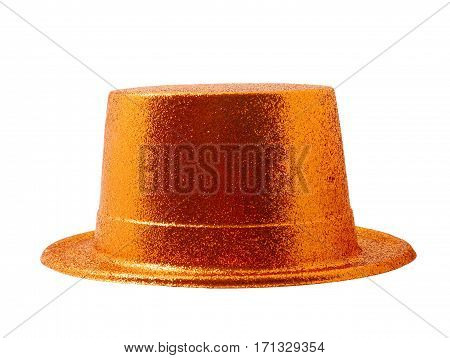 Orange party hat isolated on the white background clipping path.