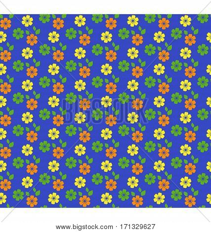 Seamless bright summer pattern with flowers isolated on blue background