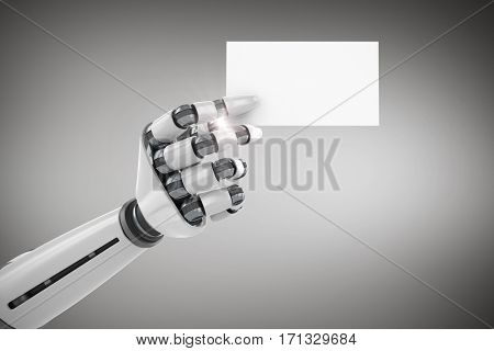 Digitally generated image of white robotic arm holding placard against grey vignette 3d