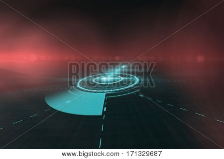 Interface of blue volume knob against black background 3d