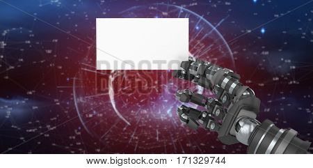 Computer generated image of robotic arm holding white placard against red background with vignette 3d