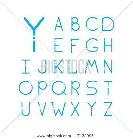 Thin vector font. Futuristic outline alphabet. High quality line alphabet set. Elegant blue signs on white background. Latin minimal alphabet letters.