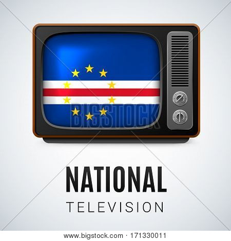 Vintage TV and Flag of Cape Verde as Symbol National Television. Tele Receiver with flag design