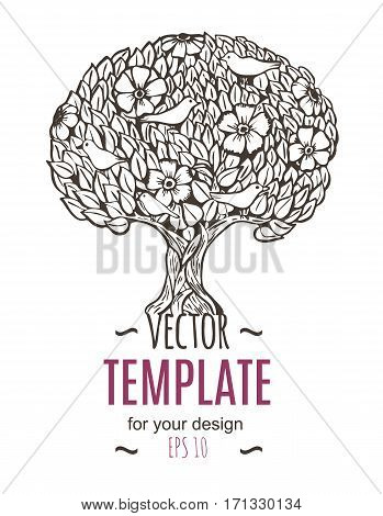 Vector illustration of the flyer, brochure or template design with tree and birds