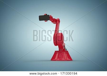 Digital generated image of robot holding mobile phone against grey vignette 3d