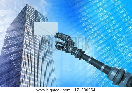 Digital composite image of robotic arm holding white placard against stocks and shares 3d