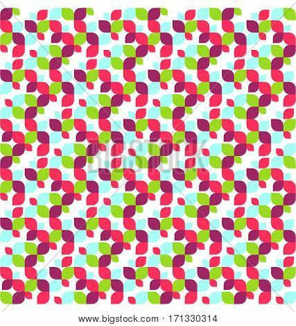 Seamless Multicolor Bright Fun Abstract Leafs Pattern