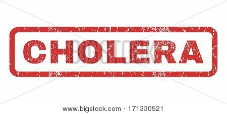 Cholera text rubber seal stamp watermark. Caption inside rectangular banner with grunge design and dirty texture. Horizontal vector red ink emblem on a white background.