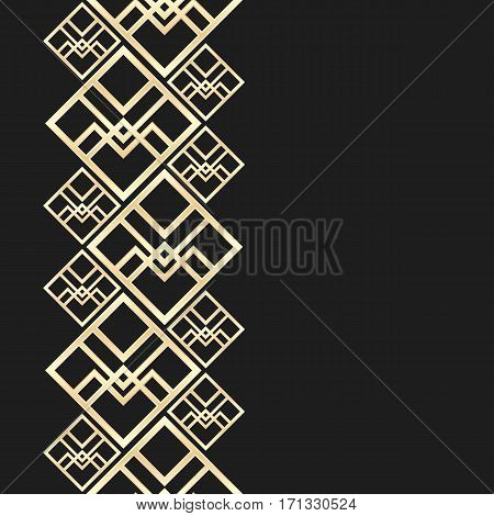 Golden frame in luxury style. Seamless border for design. Black and gold background. Noble card with place for text.