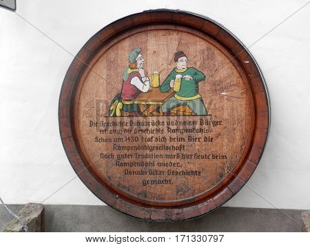 Osnabruck Germany - July 12 2016: Beer barrel advertising for local brewery