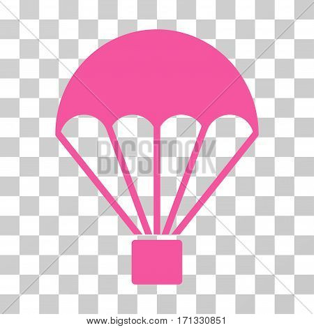 Parachute icon. Vector illustration style is flat iconic symbol pink color transparent background. Designed for web and software interfaces.